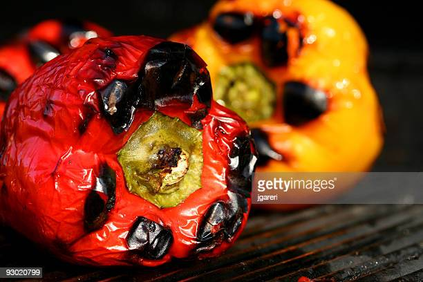 Juicy peppers being grilled