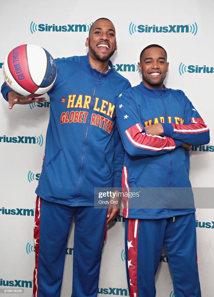 Juilan 'Zeus' McClurkin and Brawley 'Cheese' Chisholm of the Harlem Globetrotters visit the SiriusXM Studios on November 20, 2017 in New York City.