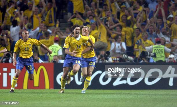 Zlatan Ibrahimovic of Sweden celebrates scoring the goal during Euro 2004 match played between Italy and Sweden at Dragao stadium in Porto Portugal