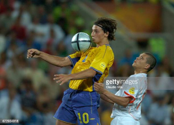 Zlatan Ibrahimovic of Sweden in action during Euro 2004 match played between Sweden and Holland at Algarve stadium in Faro Portugal