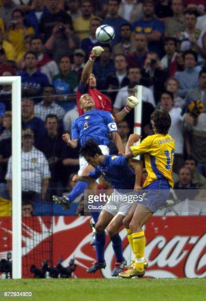Zlatan Ibrahimovic of Sweden in action during Euro 2004 match played between Italy and Sweden at Dragao stadium in Porto Portugal