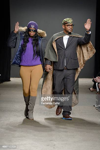 Juju and Cam'ron attend the Mark McNairy New Amsterdam runway during MercedesBenz Fashion Week Fall 2014 at Eyebeam on February 11 2014 in New York...