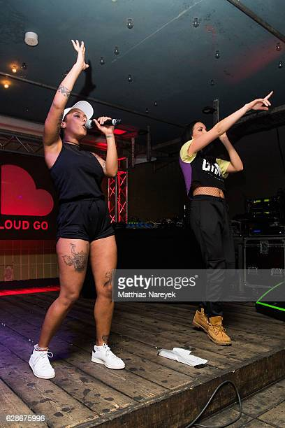 Juju and Nura of the group SXTN pose during the SoundCloud Go Launch party In Berlin at Prince Charles on December 8 2016 in Berlin Germany