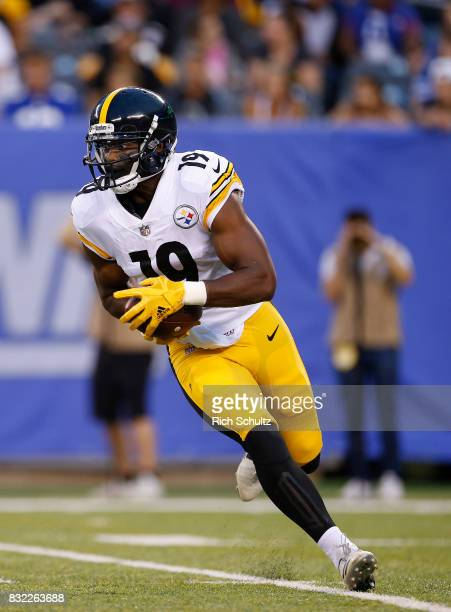JuJu SmithSchuster of the Pittsburgh Steelers in action against the New York Giants during an NFL preseason game at MetLife Stadium on August 11 2017...
