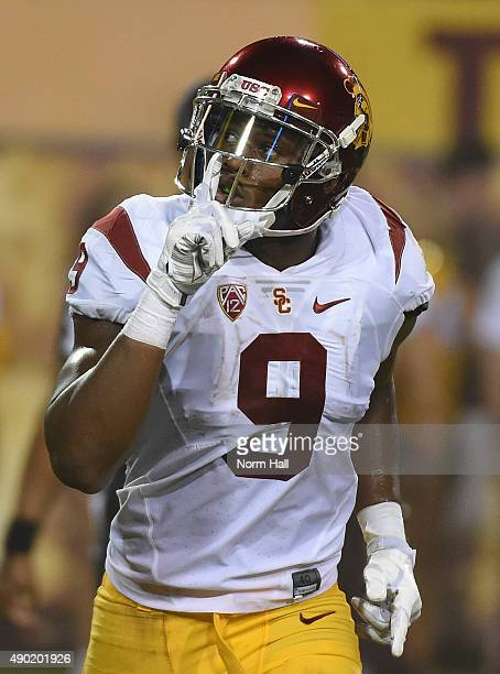 Juju SmithSchuster of the Southern California Trojans signals to the crowd to be quite after scoring a second quarter touchdown against the Arizona...