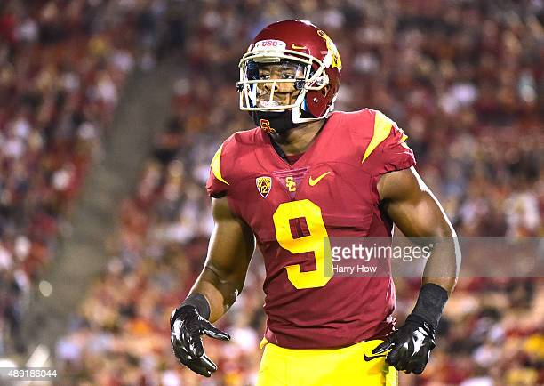 JuJu SmithSchuster of the USC Trojans during the game against the Arkansas State Red Wolves at Los Angeles Coliseum on September 5 2015 in Los...