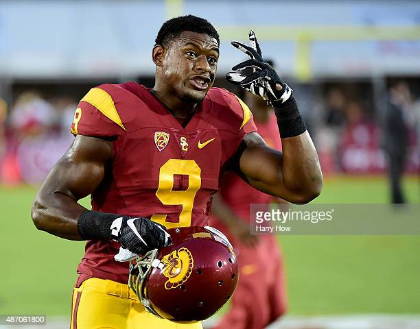 JuJu SmithSchuster of the USC Trojans during warm up before the game against Arkansas State at Los Angeles Coliseum on September 5 2015 in Los...