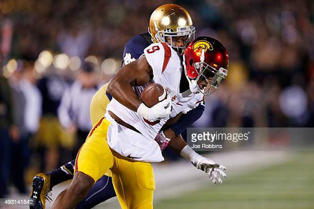 JuJu SmithSchuster of the USC Trojans makes a 37yard reception for a first down against KeiVarae Russell of the Notre Dame Fighting Irish in the...
