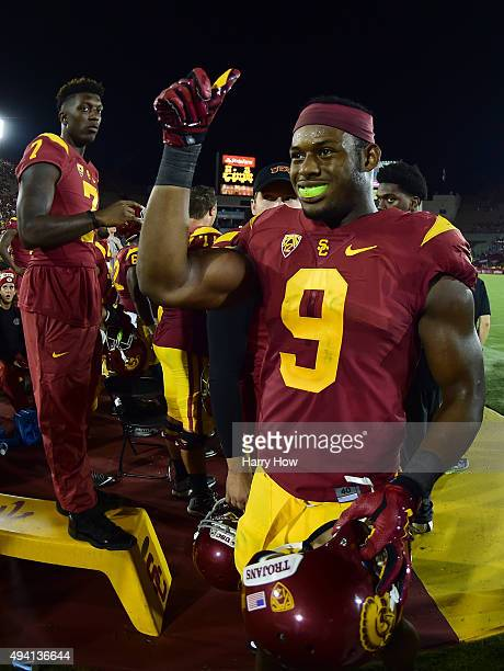 JuJu SmithSchuster of the USC Trojans reacts during a 4224 win over the Utah Utes at Los Angeles Memorial Coliseum on October 24 2015 in Los Angeles...