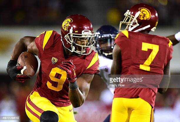 JuJu SmithSchuster of the USC Trojans runs after his catch against the Arizona Wildcats at Los Angeles Coliseum on November 7 2015 in Los Angeles...