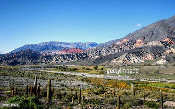 Jujuy high atitude valley and colourful mountains