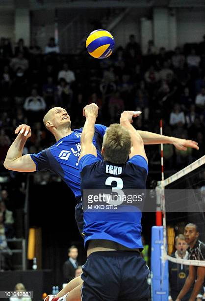 Jukka Lehtonen and Mikko Esko of Finland compete against Egypt during the World League volleyball match Finland vs Egypt in Tampere on June 5 2010...