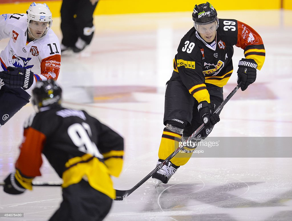 Jukka Voutilainen #39 of KalPa Kuopio starting game play during the Champions Hockey League group stage game between KalPa Kuopio and Adler Mannheim on August 24, 2014 in in Kuopio, Finland.