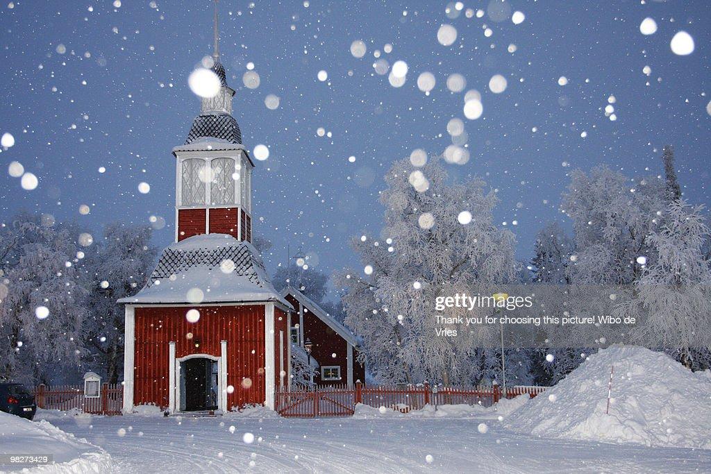 Jukkasjarvi church in the snow