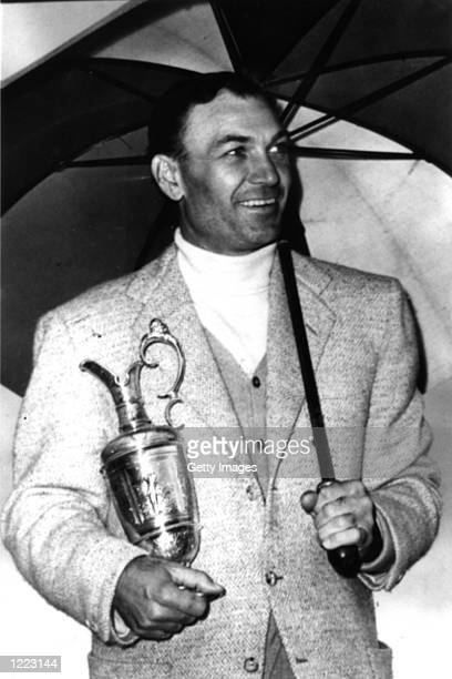 Ben Hogan of the USA with the Claret Jug after victory in the British Open at Carnoustie Scotland Mandatory Credit AllsportUK/Allsport
