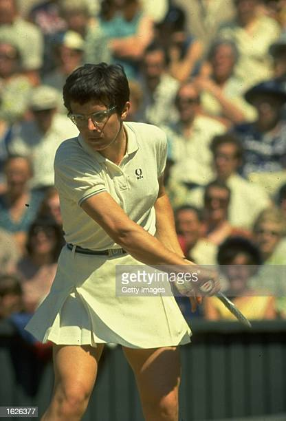 Billie Jean King of the USA in action during the final at the Lawn Tennis Championships at Wimbledon in London King won the match to become the...
