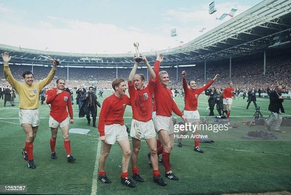 World Cup Final Wembley England v West Germany England on their lap of honour with the Jules Rimet Trophy Banks Wilson Ball Charlton Moore and Cohen...