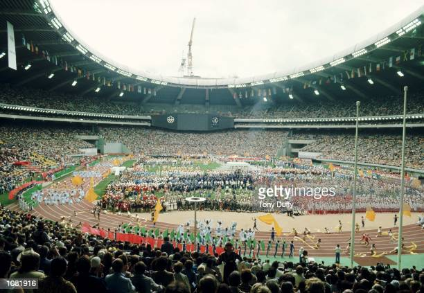 General view of the Opening Ceremony of the Olympic Games at the Olympic Stadium in Montreal Canada Mandatory Credit Tony Duffy /Allsport