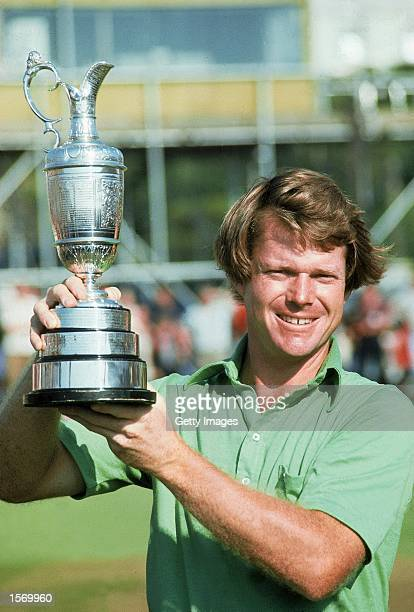 Tom Watson of the USA holds aloft the Claret Jug after winning the British Open played at Turnberry Golf Club in Ayr Scotland Mandatory Credit...
