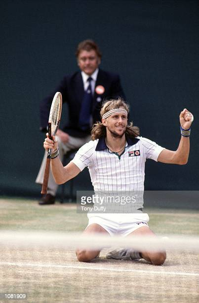 Bjorn Borg of Sweden celebrates victory in the Wimbledon Lawn Tennis Championship held at the All England Lawn Tennis and Croquet Club in London...