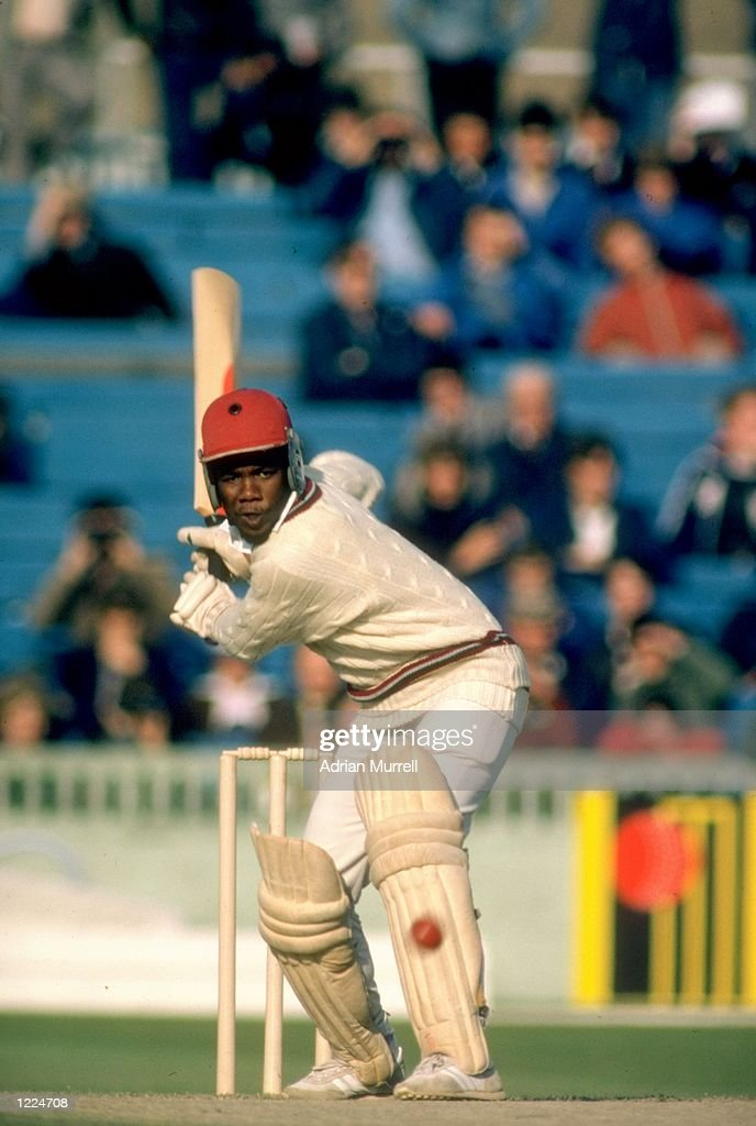 Malcolm Marshall of the West Indies in action during the Third Test match against England at Old Trafford in Manchester England The match ended in a...