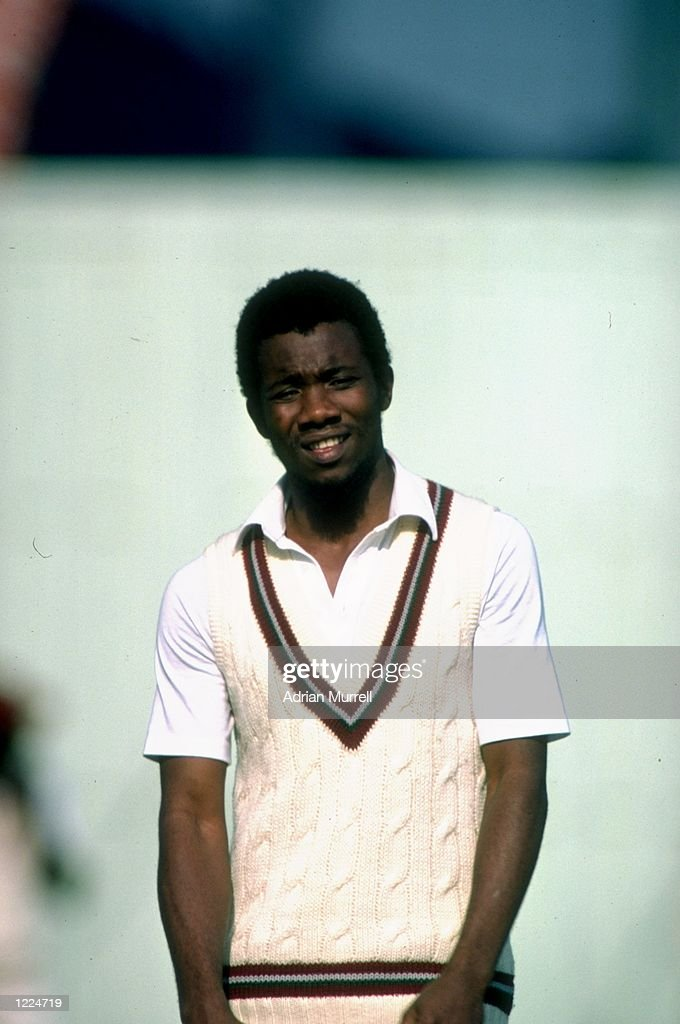 Portrait of Malcolm Marshall of the West Indies during the Third Test match against England at Old Trafford in Manchester England The match ended in...