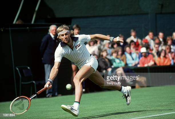 Bjorn Borg of Sweden in action during the Wimbledon Lawn Tennis Championship held at the All England Lawn Tennis and Croquet Club in London Mandatory...