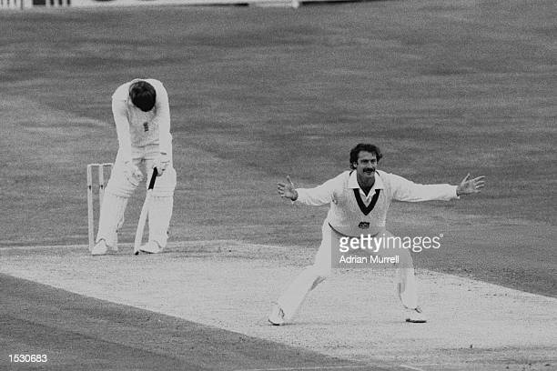 Dennis Lillee of Australia has Mike Gatting of England lbw during the third test at Headingley in Leeds Mandatory Credit Adrian Murrell/Allsport