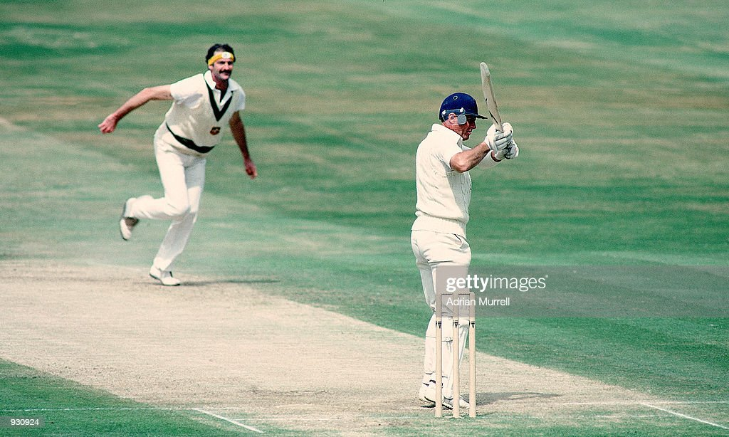 Geoff Boycott of England faces Dennis Lillee of Australia during the Third Ashes Test match between England and Australia at Headingley in Leeds...