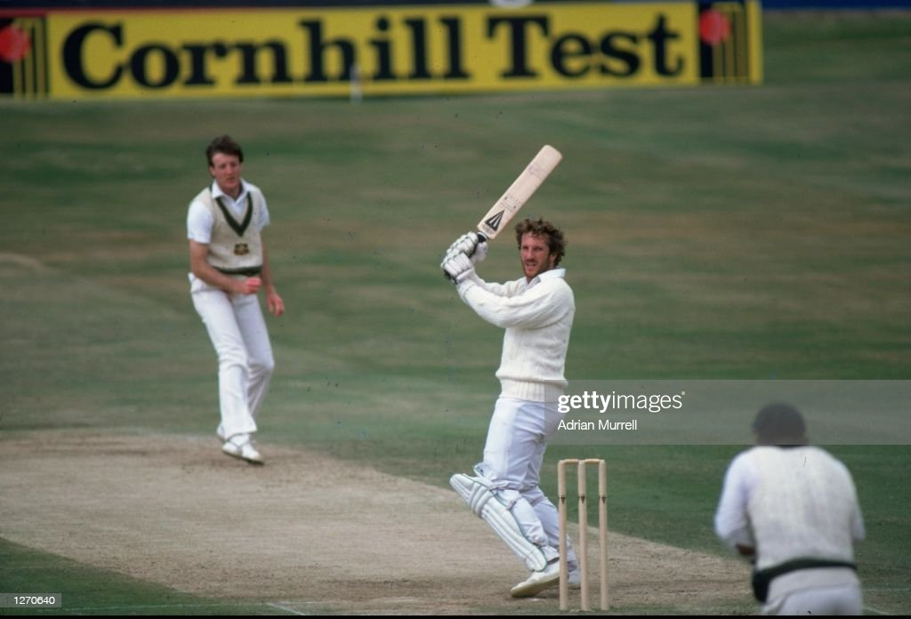 Ian Botham of England hits a four off Geoff Lawson of Australia during the Third Ashes Test match at Headingley in Leeds England England won the...