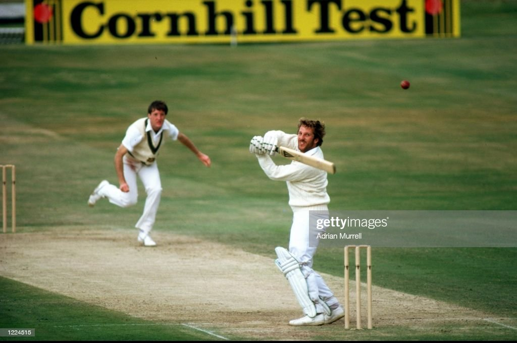 Ian Botham of England hits a four off Geoffrey Lawson of Australia during the Third Ashes Test match at Headingley in Leeds England England won the...