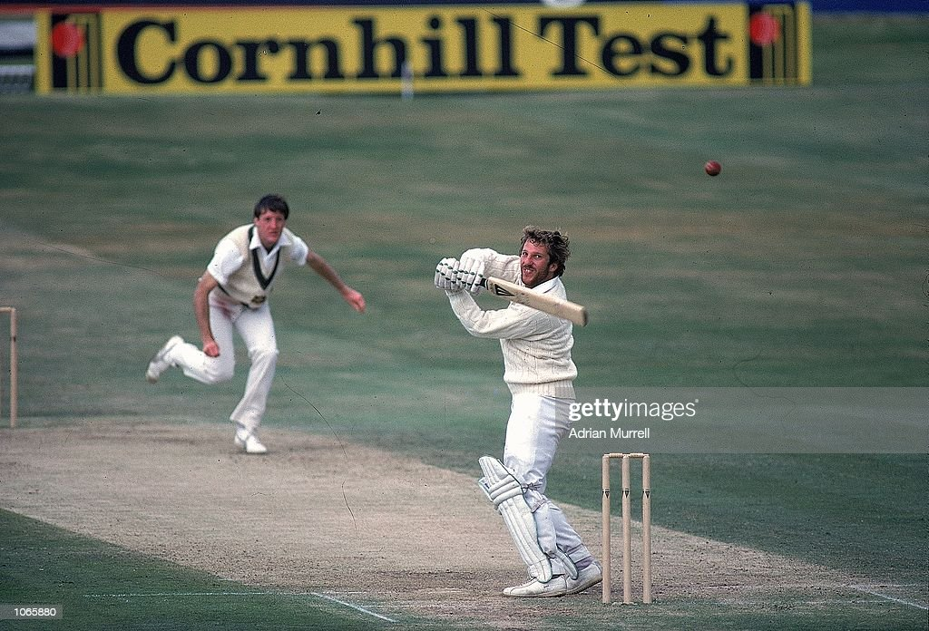 Ian Botham of England hooks a ball from Geoff Lawson of Australia on his way to 149 not out during the historic third Test match against Australia at...