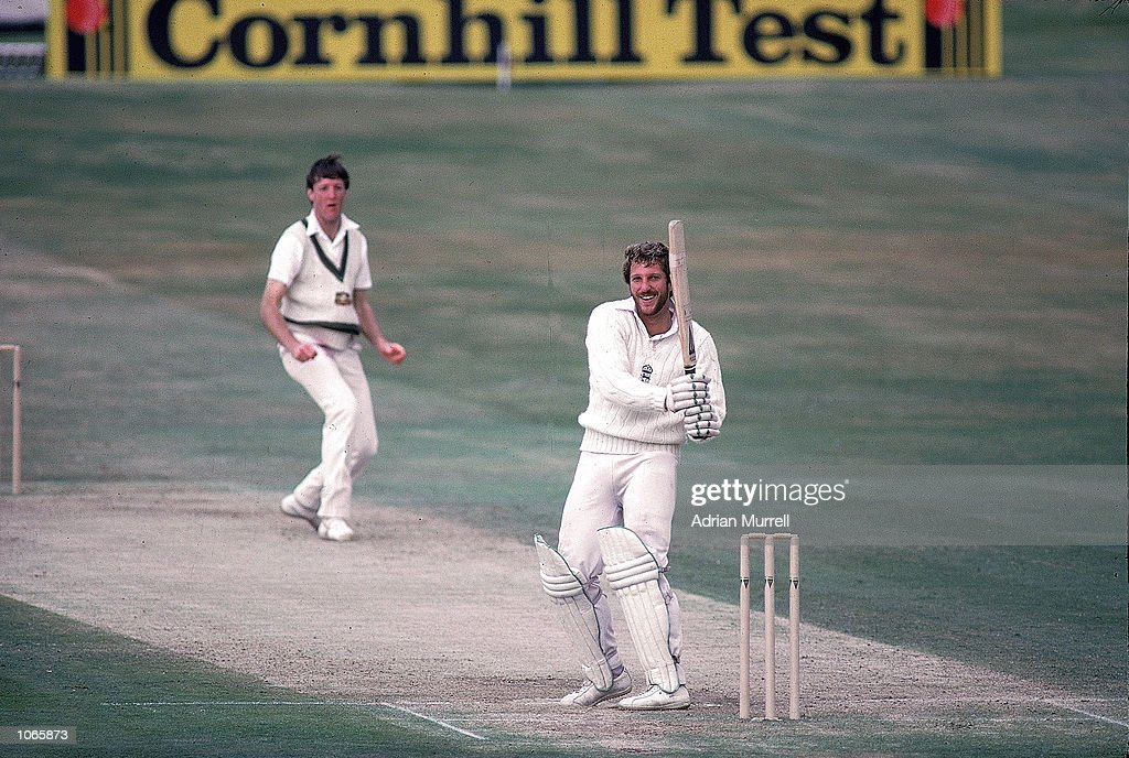 Ian Botham of England hooks Geoff Lawson of Australia for four on his way to 149 not out during the third Test match at Headingley in Leeds England...