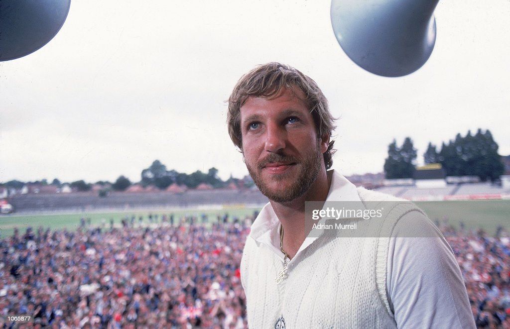 Ian Botham of England receives the man of the match award after the historic third Test match against Australia at Headingley in Leeds England...