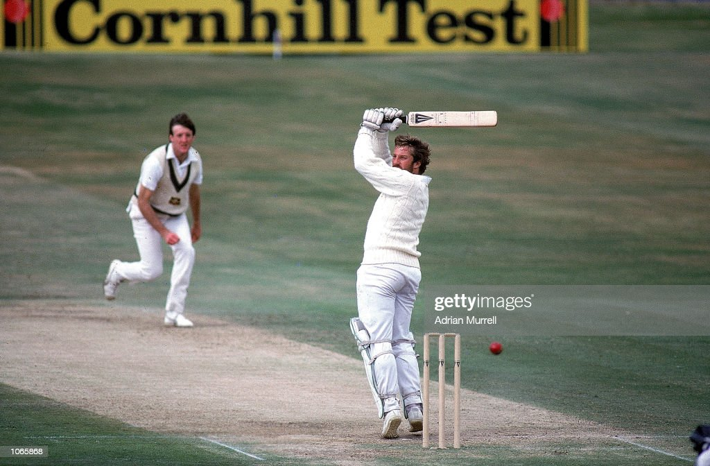 Ian Botham of England swings at a ball from Geoff Lawson of Australia on his way to 149 not out during the third Test match at Headingley in Leeds...