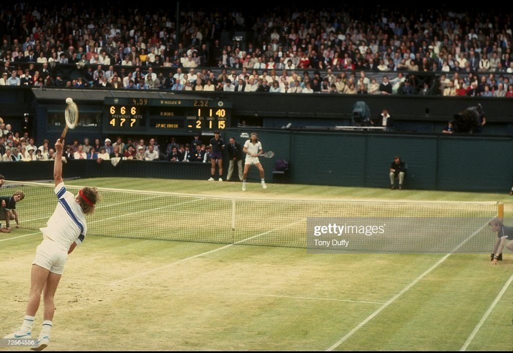 John McEnroe of the USA serves during his match against Bjorn Borg in the finals of the 1981 Lawn Tennis Championships at the All-England Club in Wimbledon, England. McEnroe won the match 4-6, 7-6, 7-6, 6-4. Mandatory Credit: Tony Duffy /Alls