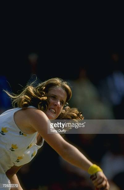 Tracy Austin of the USA serves during the 1981 Lawn Tennis Championships at the AllEngland Club in Wimbledon England Mandatory Credit Tony Duffy...