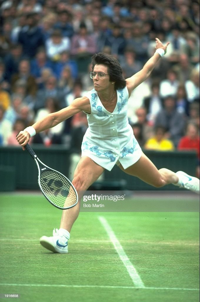 <a gi-track='captionPersonalityLinkClicked' href=/galleries/search?phrase=Billie+Jean+King&family=editorial&specificpeople=93147 ng-click='$event.stopPropagation()'>Billie Jean King</a> of the USA in action during the Lawn Tennis Championships at Wimbledon in London. \ Mandatory Credit: Bob Martin/Allsport
