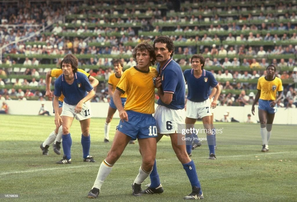 Zico (left) of Brazil and Claudio Gentile of Italy mark each other during the World Cup Second Round match at the Sarria Stadium in Barcelona, Spain. Italy won the match 3-2. \ Mandatory Credit: Allsport UK /Allsport