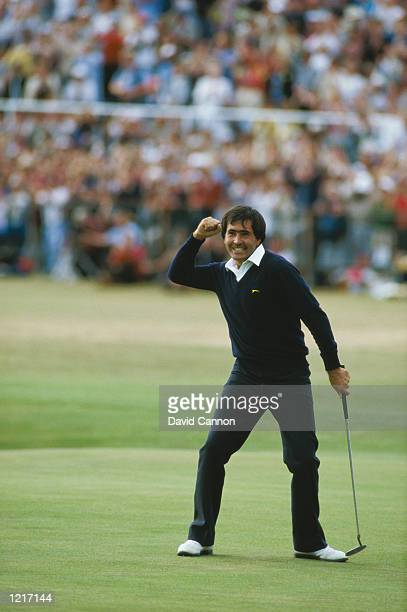 Seve Ballesteros of Spain holes out on the final green to win the British Open at St Andrews in Scotland Mandatory Credit David Cannon /Allsport