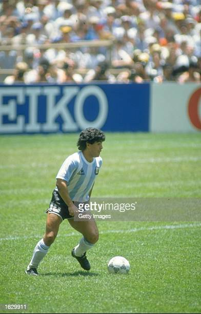 Diego Maradona of Argentina in action during the World Cup final against West Germany at the Azteca Stadium in Mexico City Argentina won the match 32...