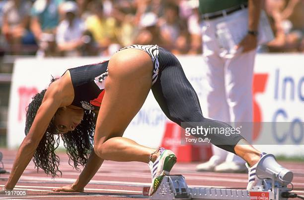 Florence GriffithJoyner of the USA ready in her starting blocks for the 100 Metres event at the US Olympic Trials USA Mandatory Credit Tony...