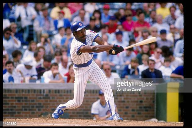 Outfielder Andre Dawson of the Chicago Cubs swings at the ball during a game at Wrigley Field in Chicago Illinois Mandatory Credit Jonathan Daniel...