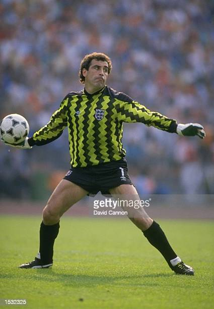 Peter Shilton of England prepares to throw the ball out to one of his players during the European championship match against Holland in Germany...