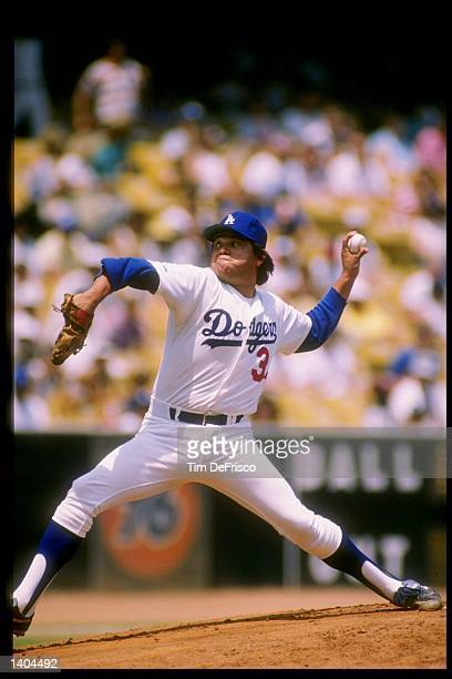 Pitcher Fernando Valenzuela of the Los Angeles Dodgers throws the ball during a game against the Houston Astros at Dodger Stadium in Los Angeles...
