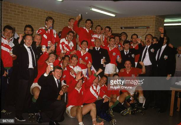 British Lions celebrate victory in the test series after the British Lions tour to Australia match against Australia played at the Sydney Football...