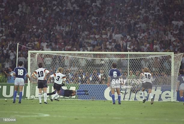 Andreas Brehme of West Germany beats Goycochea to score a penalty during the World Cup final against Argentina at the Olympic Stadium in Rome West...