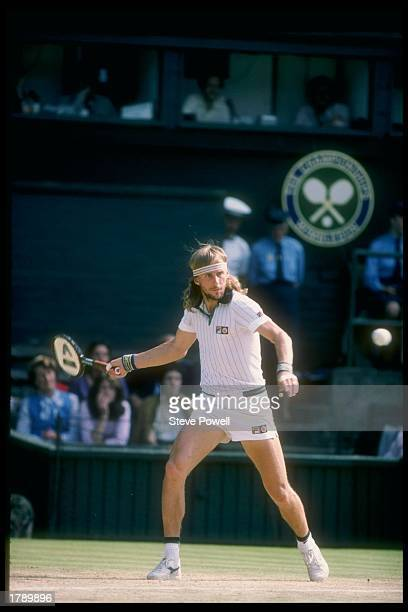 Bjorn Borg of Sweden prepares to swing at the ball during Wimbledon in London England Mandatory Credit Steve Powell /Allsport