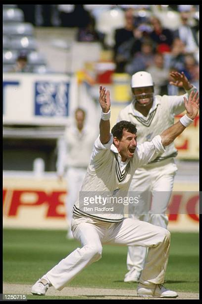Sir Richard Hadlee of New Zealand appeals for a wicket in his last test match for New Zealand against England at Edgbaston Mandatory Credit Ben...