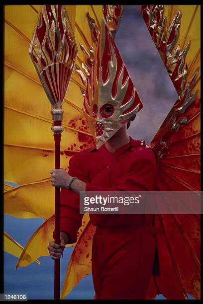 A dancer performs in colorful costume during the Opening Ceremony for the 1992 Summer Olympic Games at the Olympic Stadium in Barcelona Spain...